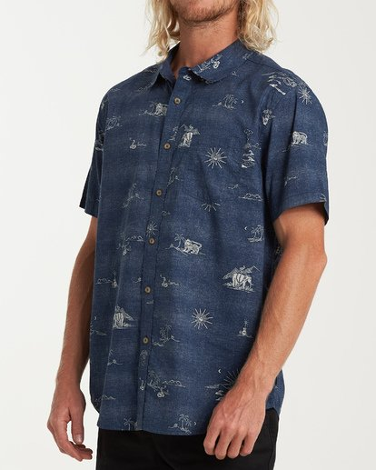 1 Sundays Mini Short Sleeve Shirt Blue M503VBSM Billabong