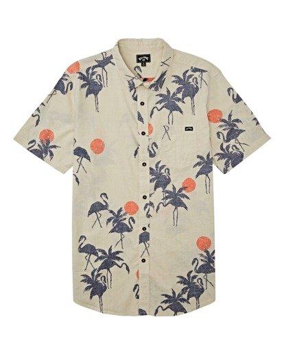 3 Sundays Floral Short Sleeve Shirt Beige M5041BSF Billabong