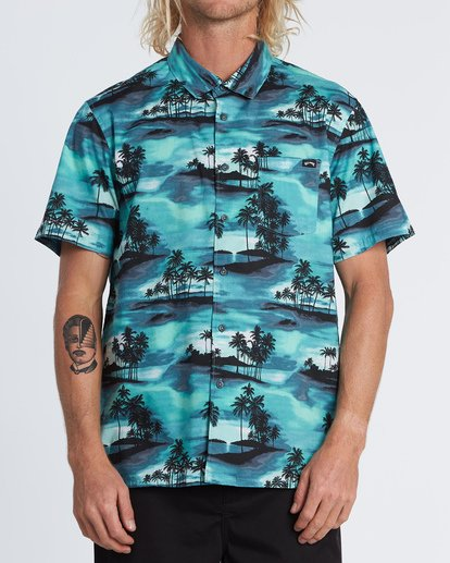 0 Sundays Floral Short Sleeve Shirt Blue M5041BSF Billabong