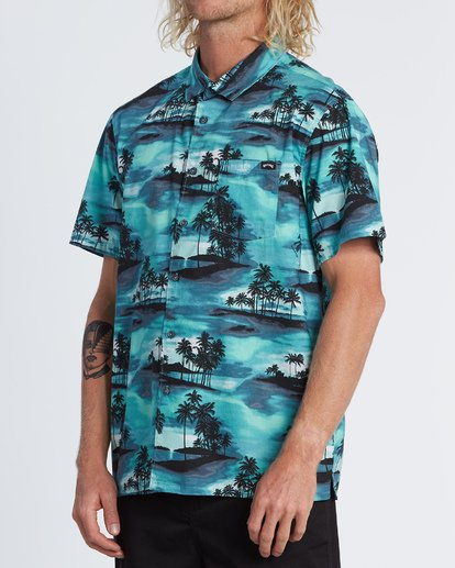 1 Sundays Floral Short Sleeve Shirt Blue M5041BSF Billabong