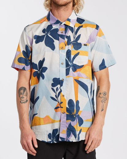 0 Sundays Floral Short Sleeve Shirt Blue M5043BSF Billabong