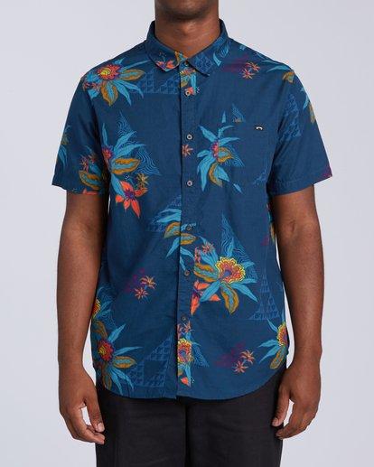 0 Sundays Floral Short Sleeve Shirt Blue M5043BSF Billabong