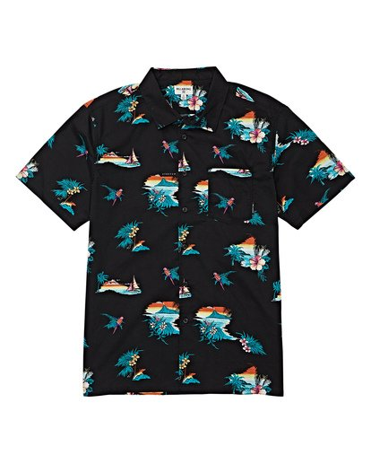 3 Sundays Floral Short Sleeve Shirt Black M504VBSF Billabong