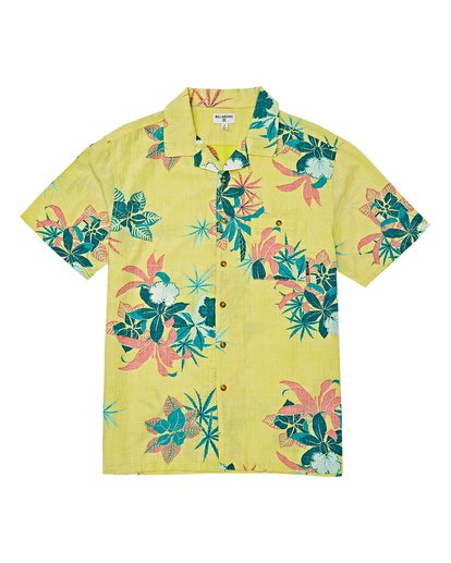 3 Vacay Print Short Sleeve Shirt Yellow M505VBVP Billabong