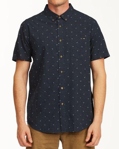 0 All Day Jacquard Short Sleeve Shirt Blue M5073BSJ Billabong