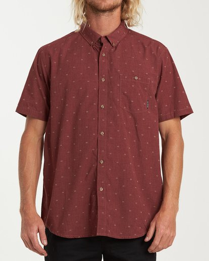 0 All Day Jacquard Short Sleeve Shirt Red M507VBSJ Billabong