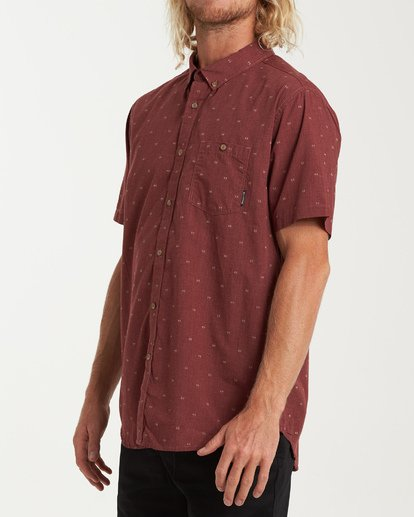 1 All Day Jacquard Short Sleeve Shirt Red M507VBSJ Billabong