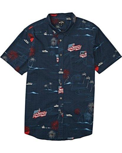 3 Sundays July Short Sleeve Shirt Blue M5152BSJ Billabong