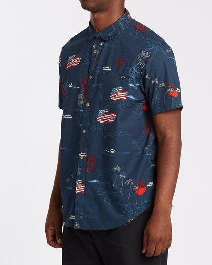 1 Sundays July Short Sleeve Shirt Blue M5152BSJ Billabong