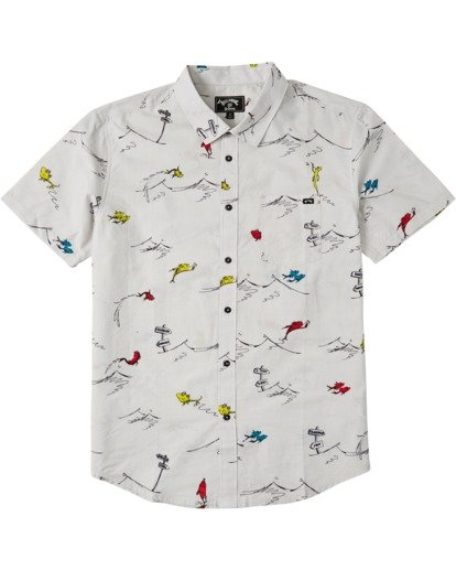3 One Fish Two Fish Short Sleeve Shirt White M5173BOF Billabong
