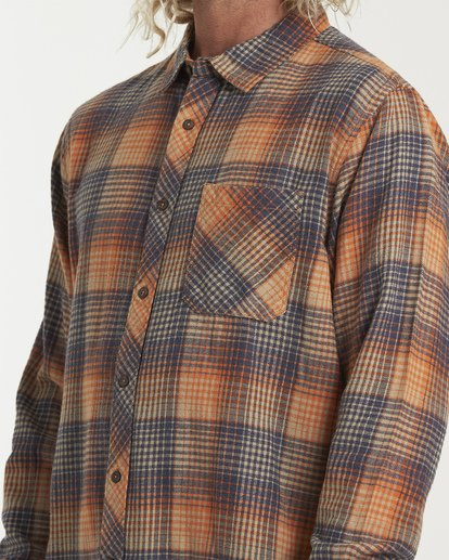 3 Freemont Flannel Shirt Red M523VBFR Billabong