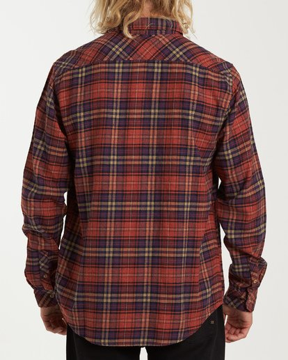 2 Freemont Flannel Shirt Red M523VBFR Billabong