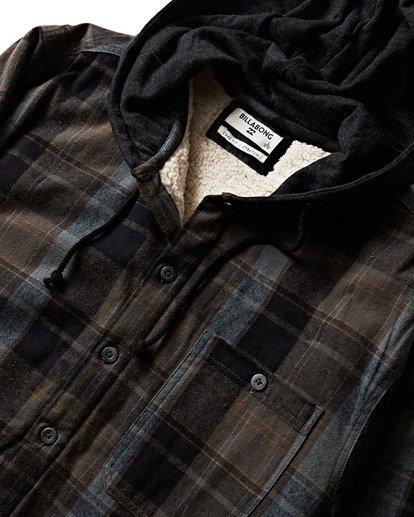 2 Baja Sherpa Hooded Flannel Shirt Black M525SBBA Billabong