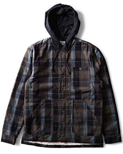 0 Baja Sherpa Hooded Flannel Shirt Black M525SBBA Billabong