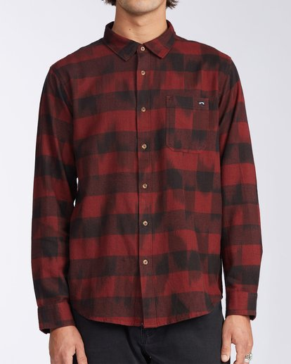 0 Coastline Flannel Shirt Red M5323BCO Billabong