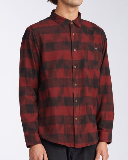 2 Coastline Flannel Shirt Red M5323BCO Billabong