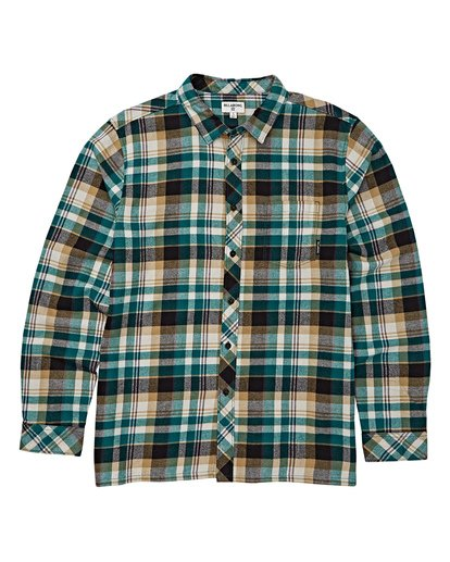 5 Coastline Long Sleeve Flannel Shirt Green M532VBCO Billabong