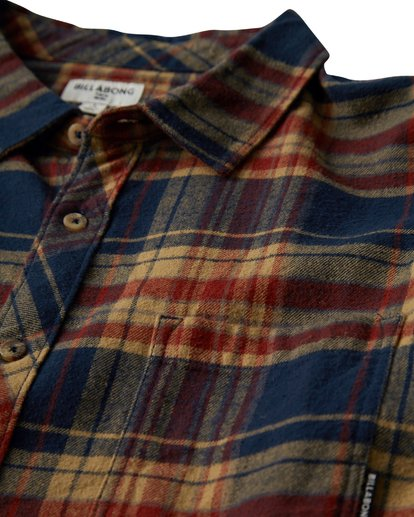 1 Coastline Long Sleeve Flannel Shirt Blue M532VBCO Billabong