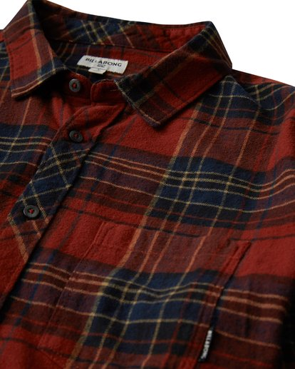 1 Coastline Long Sleeve Flannel Shirt Red M532VBCO Billabong
