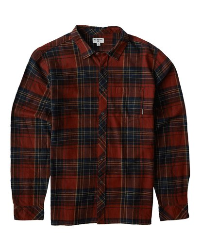 0 Coastline Long Sleeve Flannel Shirt Red M532VBCO Billabong