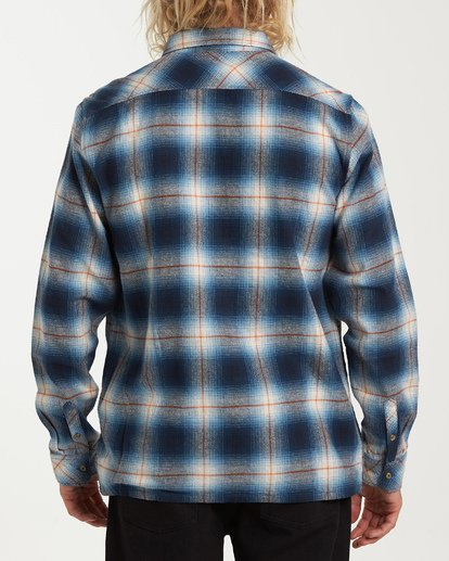 2 Coastline Long Sleeve Flannel Shirt Blue M532VBCO Billabong
