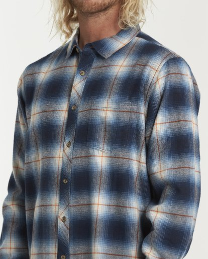 3 Coastline Long Sleeve Flannel Shirt Blue M532VBCO Billabong