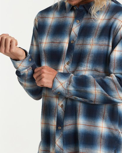 4 Coastline Long Sleeve Flannel Shirt Blue M532VBCO Billabong