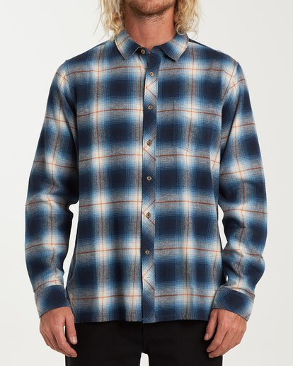 0 Coastline Long Sleeve Flannel Shirt Blue M532VBCO Billabong