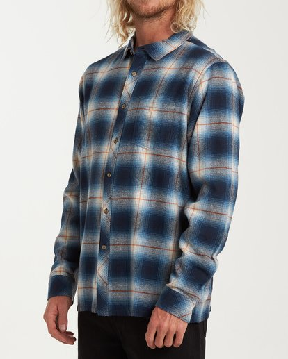 1 Coastline Long Sleeve Flannel Shirt Blue M532VBCO Billabong