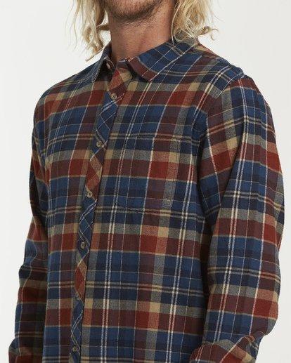 3 Coastline Long Sleeve Flannel Shirt Blue M532VBCO Billabong