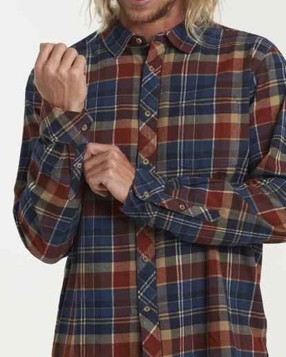 4 Coastline Long Sleeve Flannel Shirt Blue M532VBCO Billabong