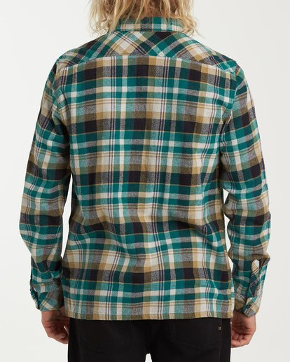 2 Coastline Long Sleeve Flannel Shirt Green M532VBCO Billabong