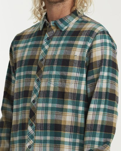3 Coastline Long Sleeve Flannel Shirt Green M532VBCO Billabong