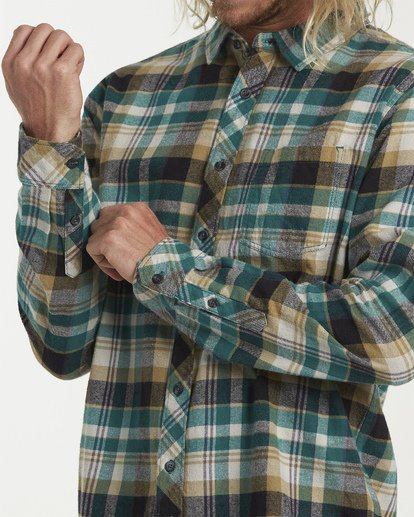4 Coastline Long Sleeve Flannel Shirt Green M532VBCO Billabong