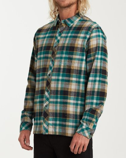 1 Coastline Long Sleeve Flannel Shirt Green M532VBCO Billabong