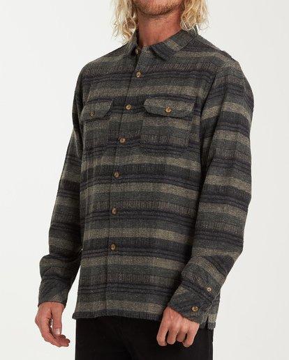 1 Offshore Long Sleeve Flannel Shirt Green M535VBSB Billabong