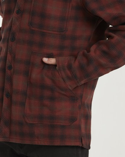 3 Furnace Bonded Hooded Flannel Red M537WBFB Billabong
