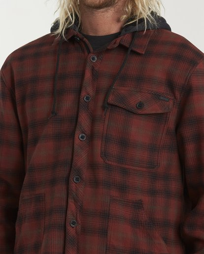 4 Furnace Bonded Hooded Flannel Red M537WBFB Billabong