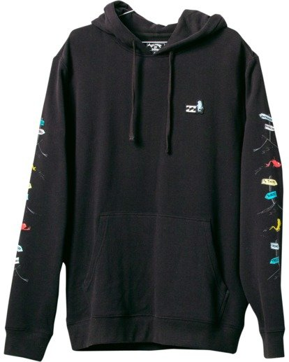 4 One Fish Two Fish Pullover Hoodie Black M6403BON Billabong