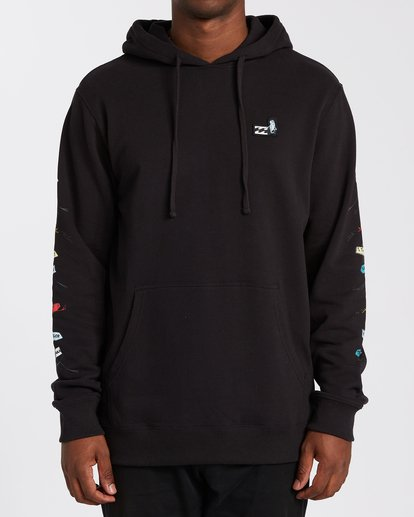 0 One Fish Two Fish Pullover Hoodie Black M6403BON Billabong