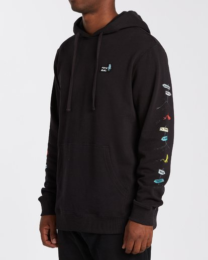 1 One Fish Two Fish Pullover Hoodie Black M6403BON Billabong