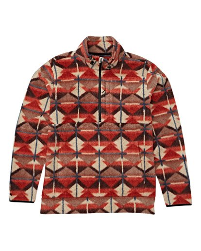 6 Boundary Mock Half Zip Pullover Fleece Red M640QBBM Billabong
