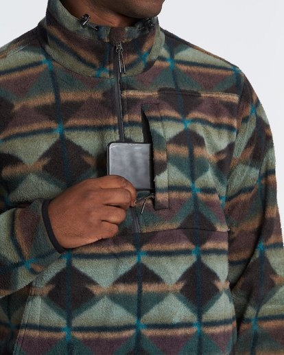 3 Boundary Mock Half Zip Pullover Fleece Green M640QBBM Billabong