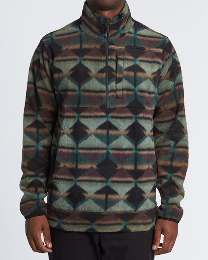 0 Boundary Mock Half Zip Pullover Fleece Green M640QBBM Billabong