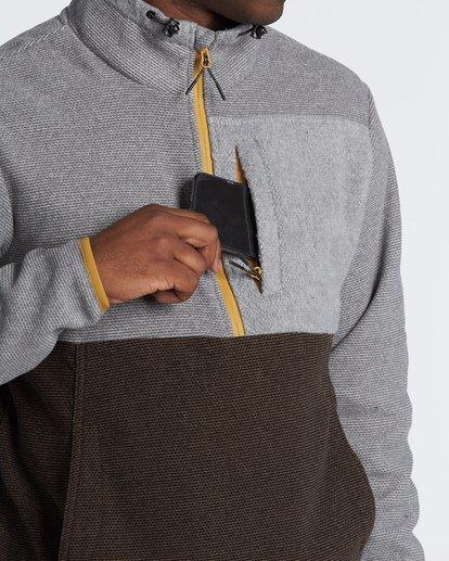 3 Boundary Mock Half Zip Pullover Fleece Grey M640QBBM Billabong