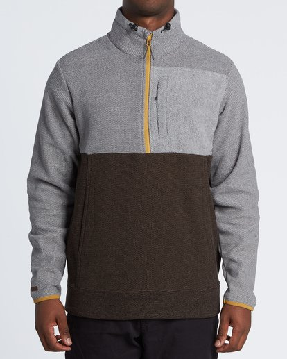 0 Boundary Mock Half Zip Pullover Fleece Grey M640QBBM Billabong