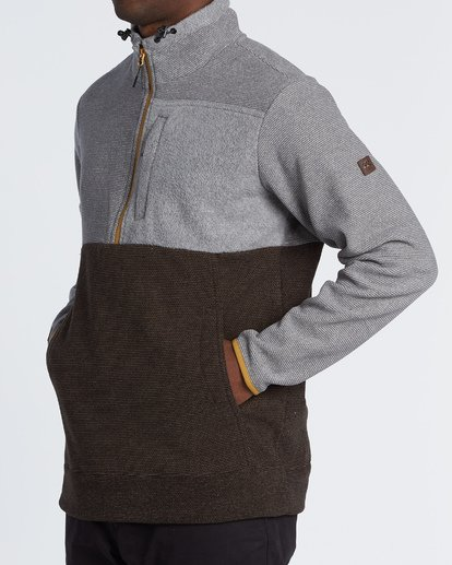 1 Boundary Mock Half Zip Pullover Fleece Grey M640QBBM Billabong