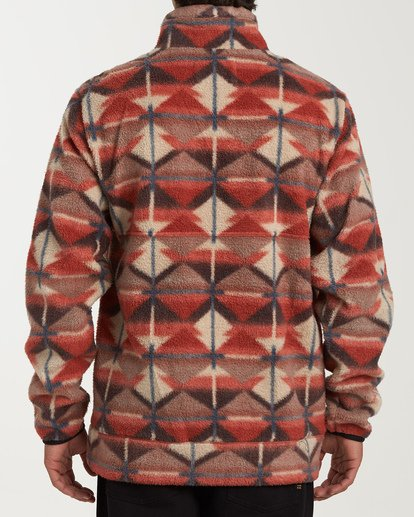 2 Boundary Mock Half Zip Pullover Fleece Red M640QBBM Billabong