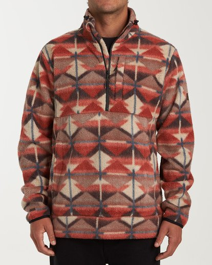 0 Boundary Mock Half Zip Pullover Fleece Red M640QBBM Billabong