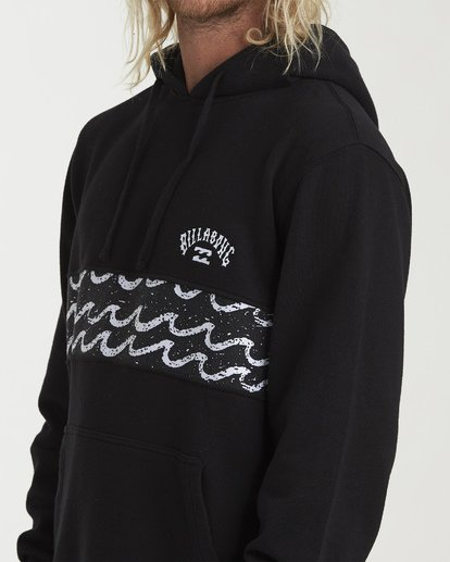 4 Wave Washed Panel Pullover Hoodie Black M640WBWH Billabong